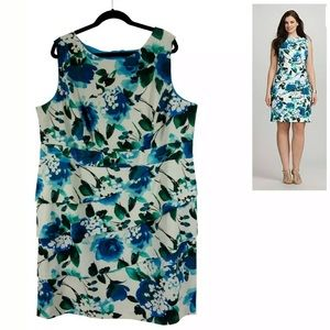 24W 3X▪️.TEAL FLORAL TIERED DRESS Summer Plus Size